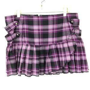 Super low fat plaid XXL mini skirt